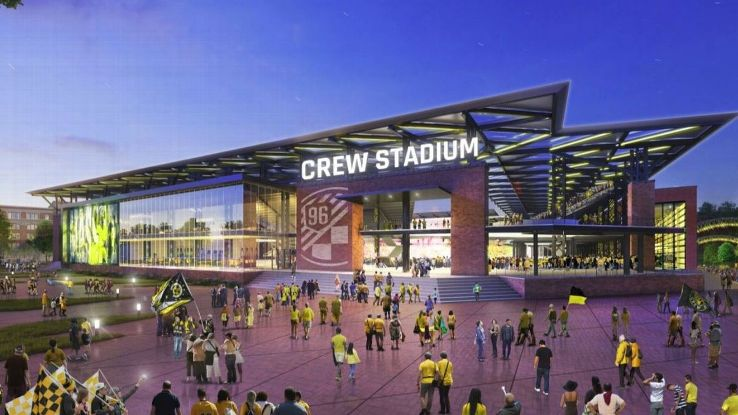 A rendering of a proposed new 20,000 seat, downtown stadium for the Columbus Crew.