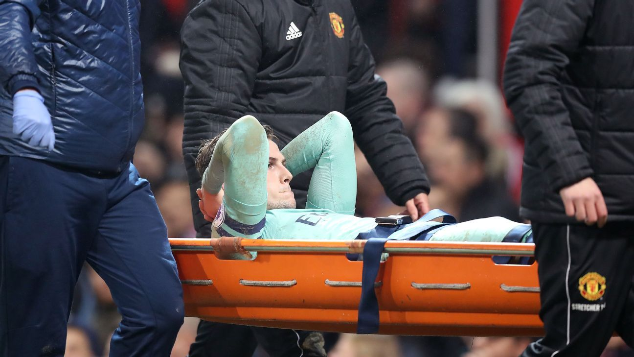 Rob Holding left Arsenal's Premier League draw with Manchester United on a stretcher.