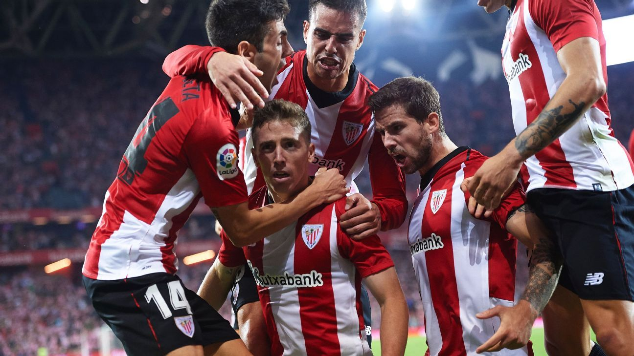 Muniain, centre, has signed a new long-term contract with Athletic Bilbao and will be one of the stars tasked with rescuing this club from a first-ever relegation.