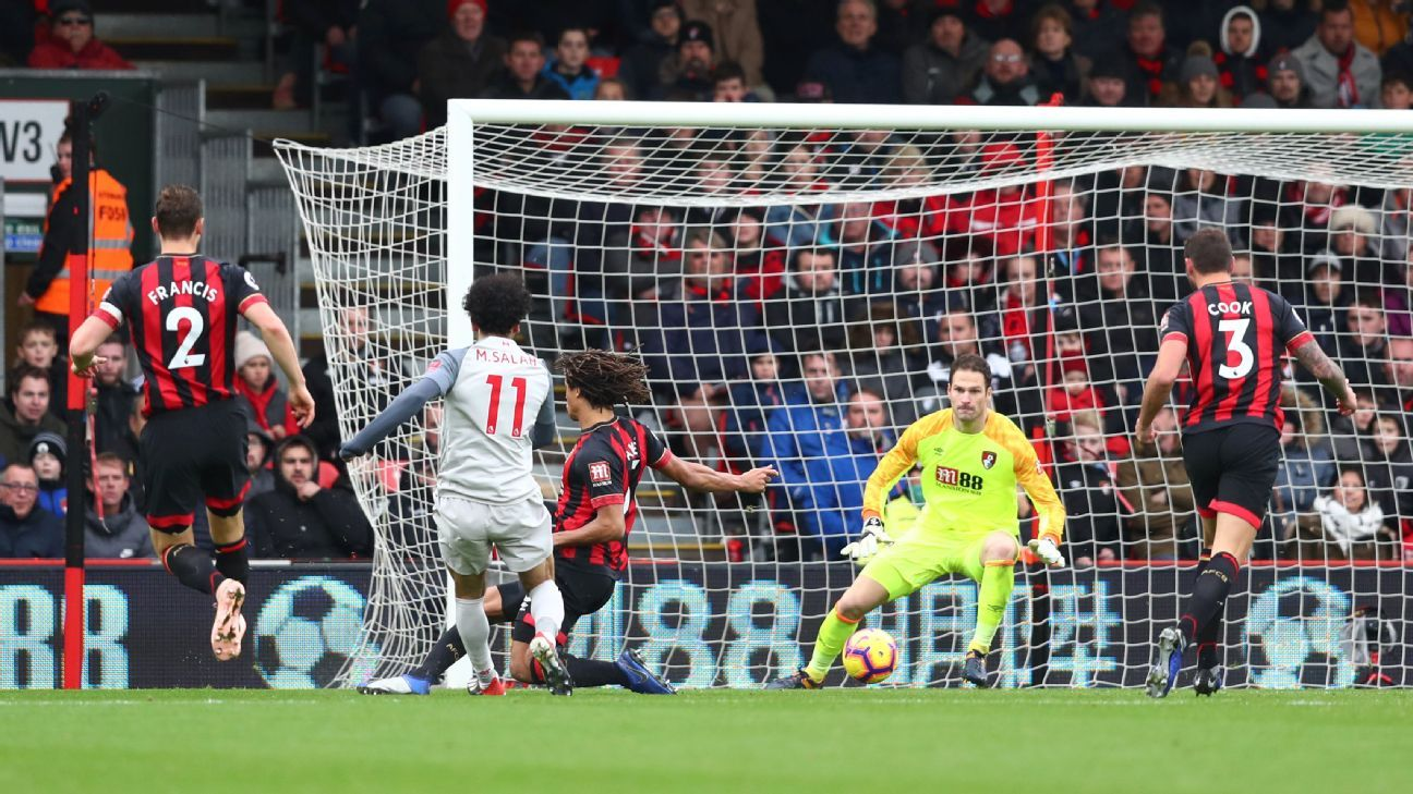 Mohamed Salah scores Liverpool's second goal in the Premier League game against Bournemouth.