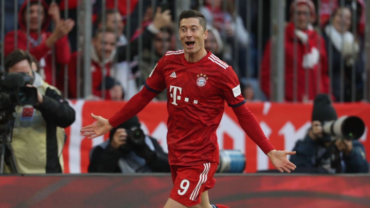 Robert Lewandowski celebrates a goal for Bayern Munich against Nurnberg.