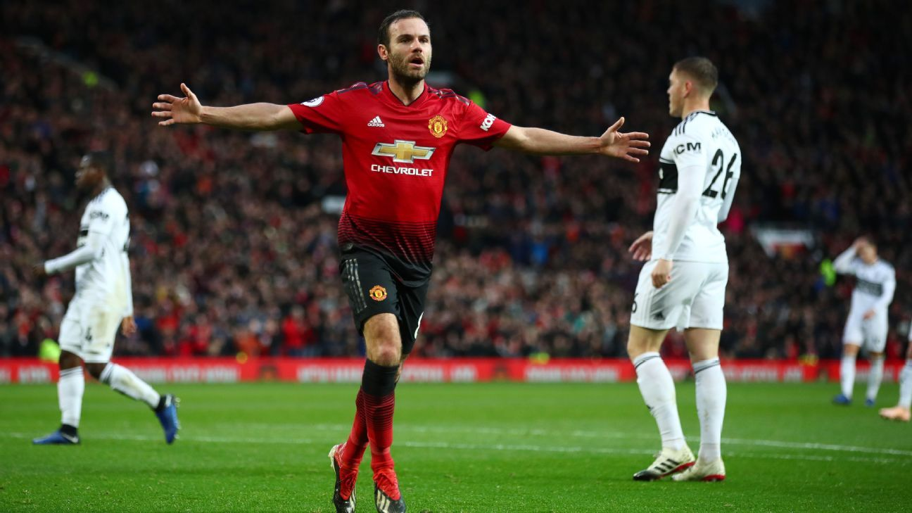 Juan Mata celebrates after scoring in Manchester United's Premier League win over Fulham.