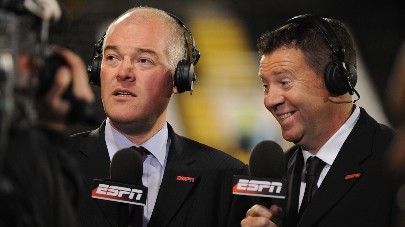 Jon Champion, left, with Chris Waddle during an ESPN Premier League broadcast in England in 2009.