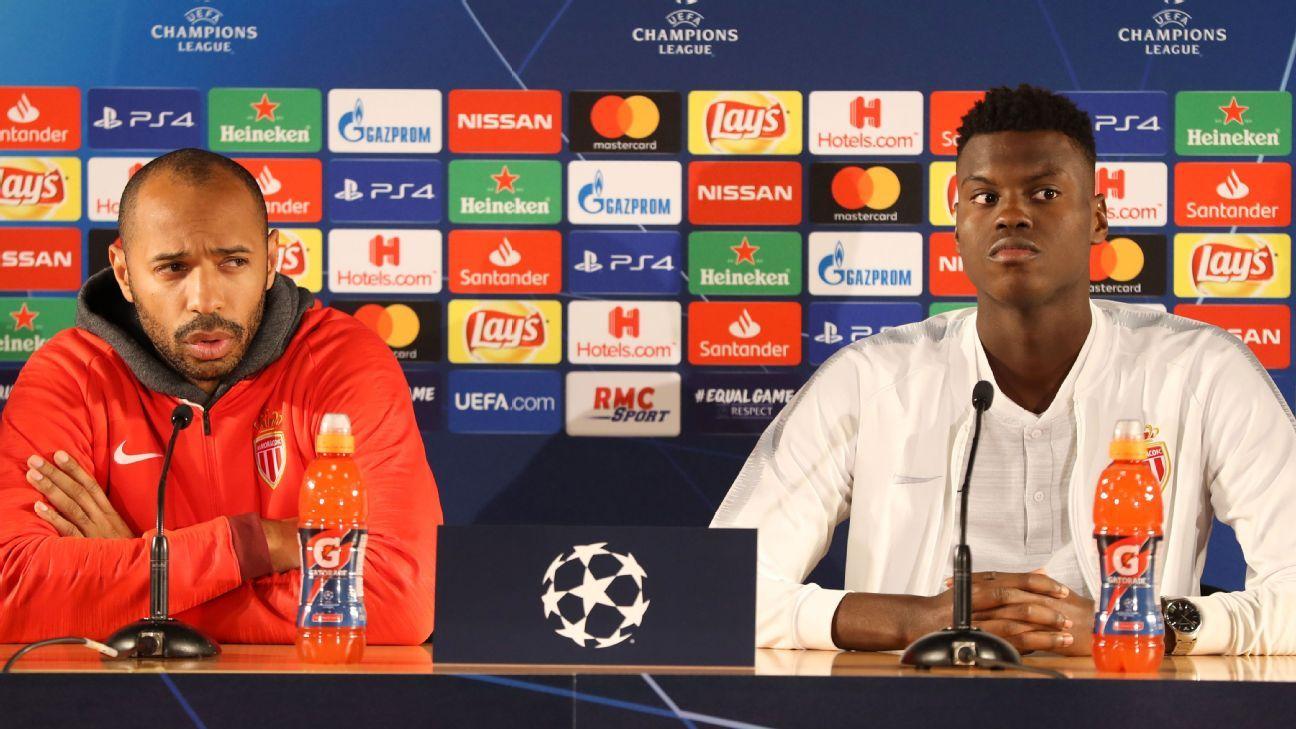 Monaco's Thierry Henry and Benoit Badiashile