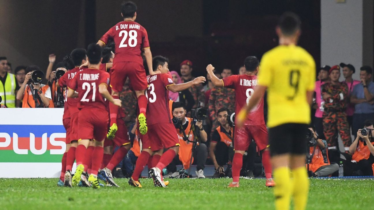 Vietnam celeb scoring against Malaysia in the first leg of the Asean Football Federation Championship final.