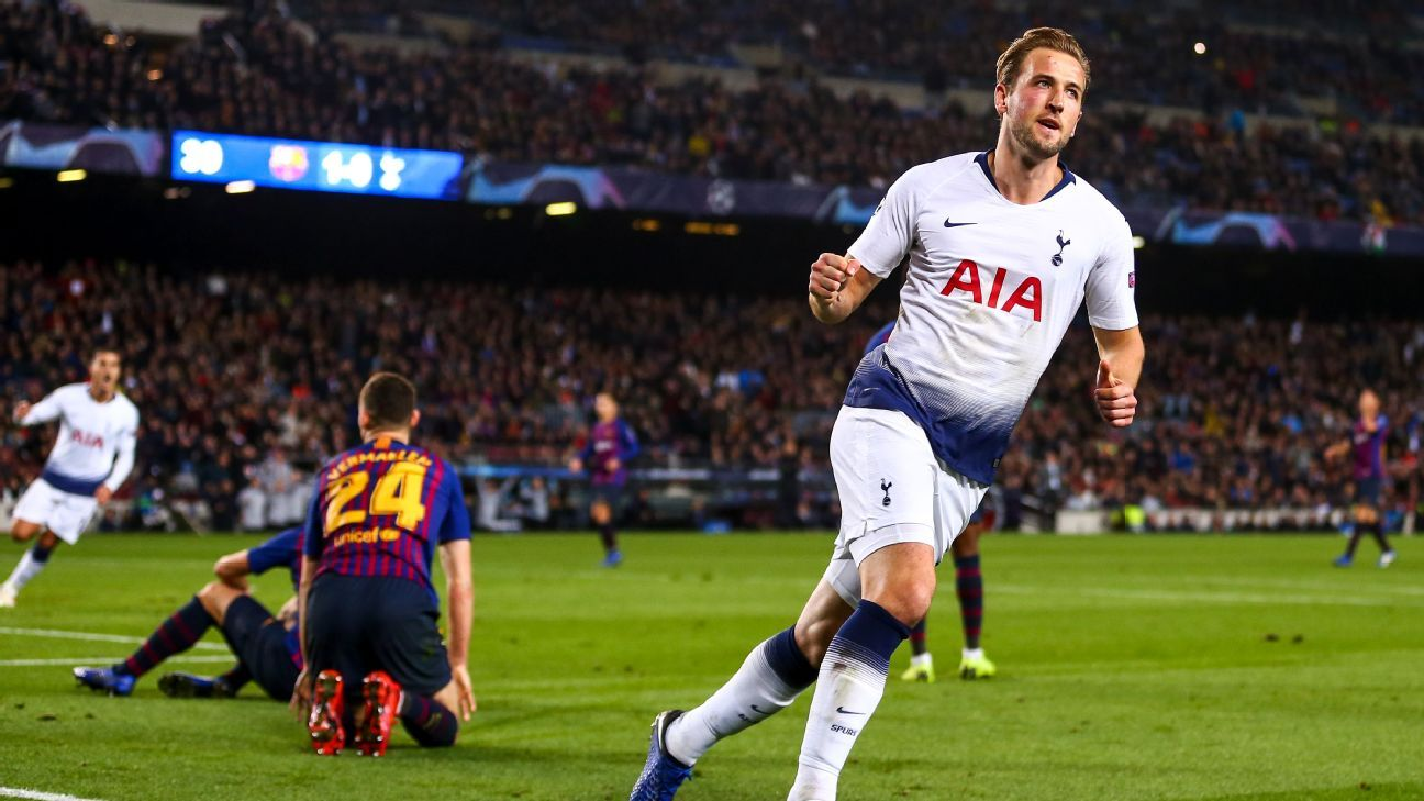 Harry Kane celebrates during Tottenham's Champions League draw at Barcelona.