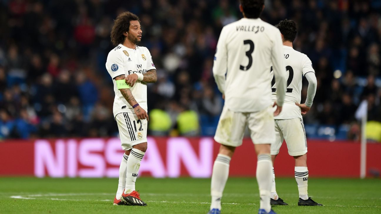 Marcelo looks on during Real Madrid's Champions League loss to CSKA Moscow.