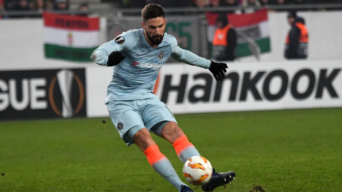 Olivier Giroud scores from a free kick in Chelsea's Europa League draw at Vidi.