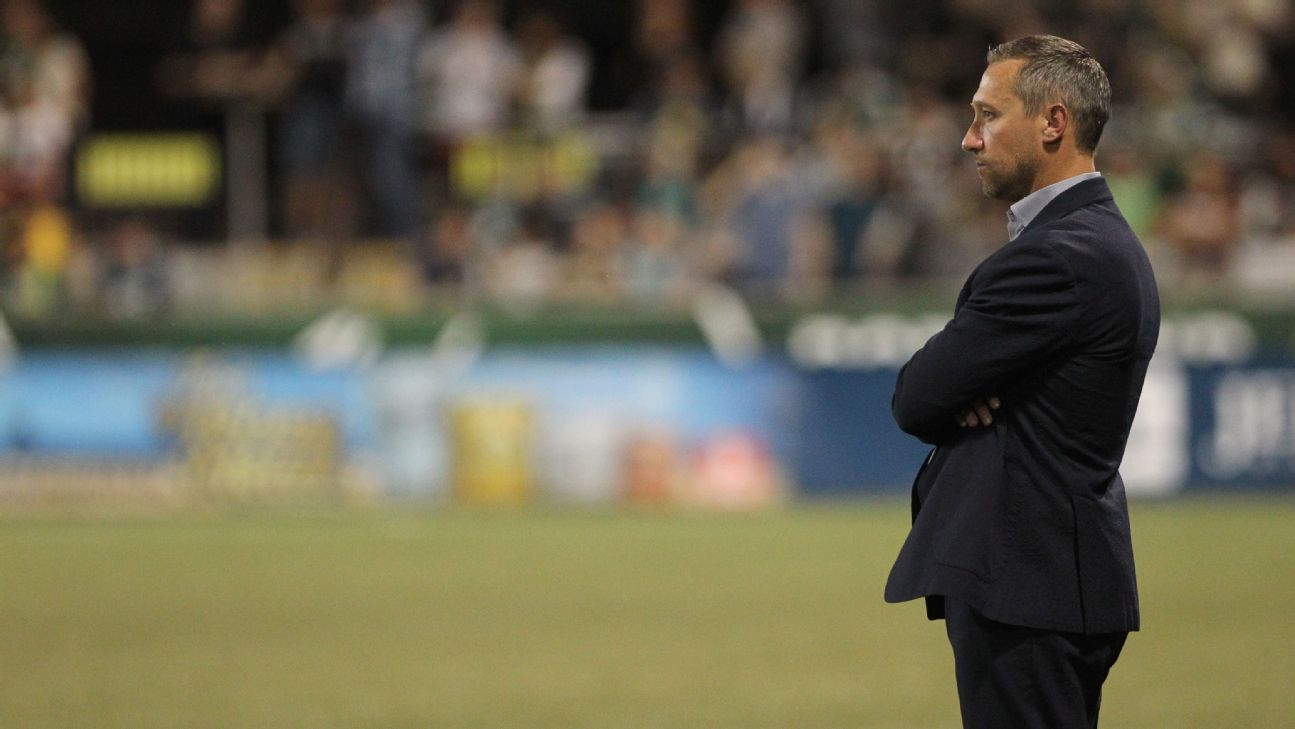 Caleb Porter looks on during a Portland Timbers match in 2017.