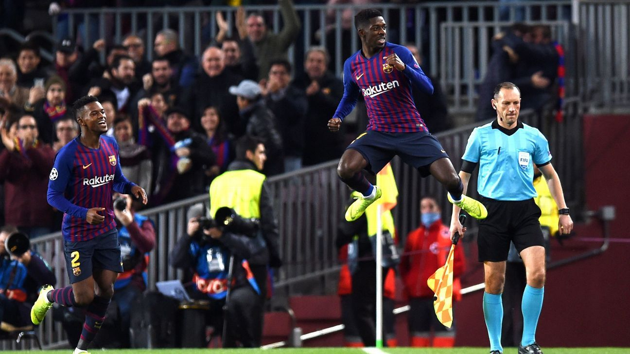 Dembele, right, has been instrumental for Barcelona in recent weeks but thanks to turning up late for training, the drama around him continues to be debated.