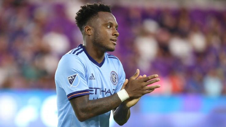 Rodney Wallace looks on during New York City FC's MLS match against Orlando City.