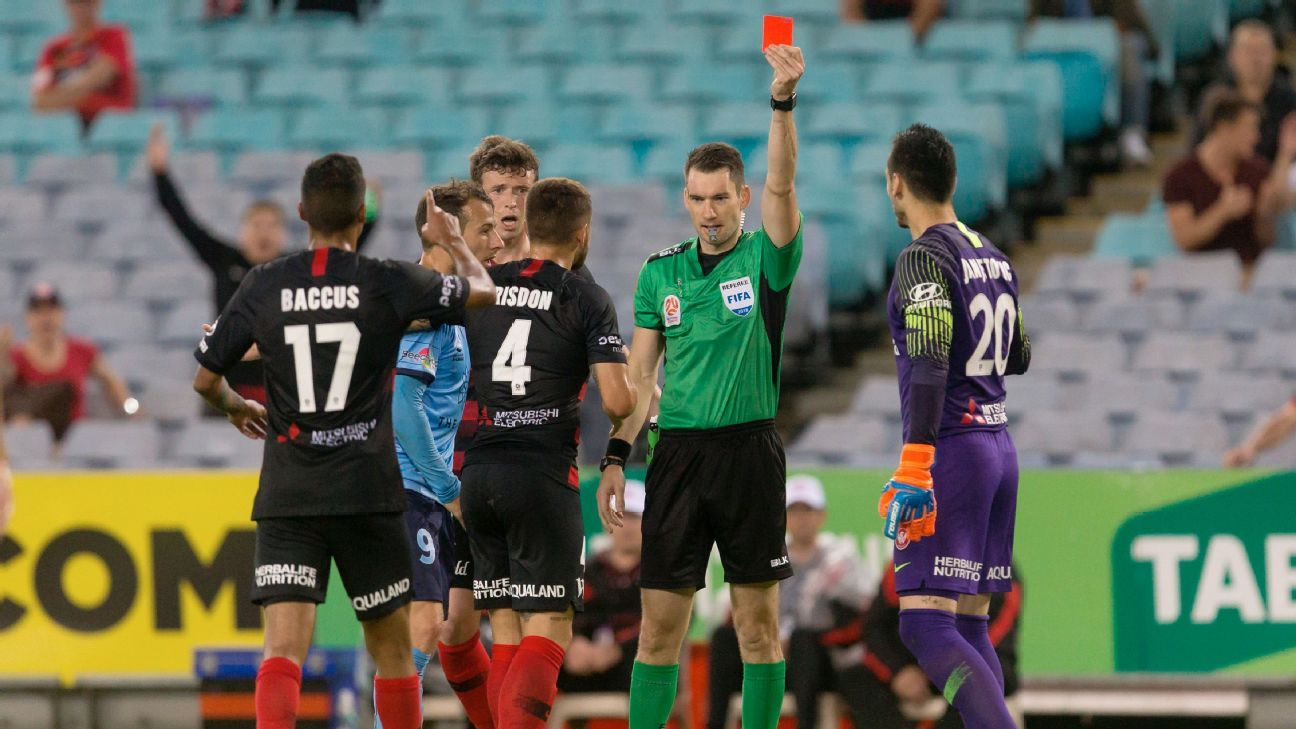 Western Sydney Wanderers goalkeeper Vedran Janjetovic is sent off in the team's derby match against Sydney FC.