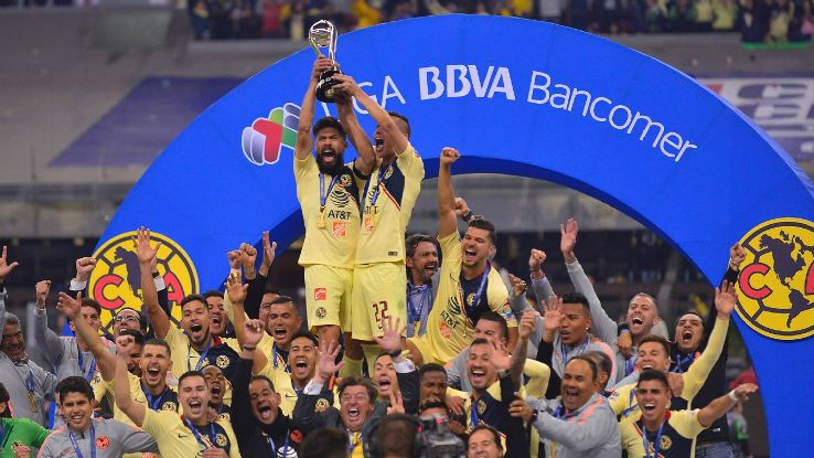 Club America players celebrated their Liga MX title victory over Mexico City rivals Cruz Azul.