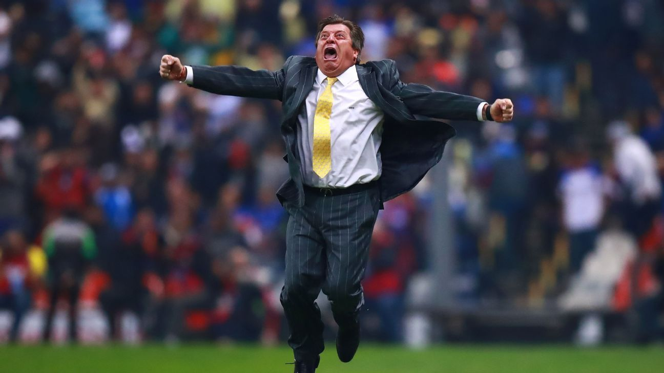 Club America boss Miguel Herrera really knows how to celebrate a championship.