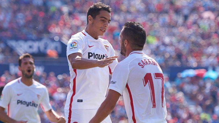 Wissam Ben Yedder and Pablo Sarabia celebrate during Sevilla's La Liga match against Levante.