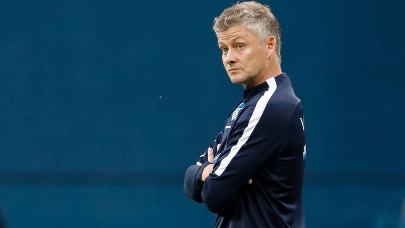 Ole Gunnar Solskjaer on the touchline for Molde in August 2018.