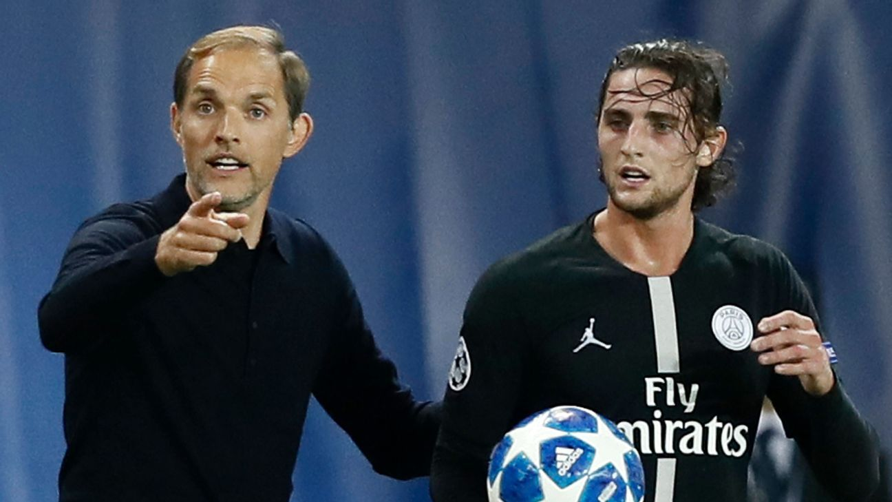 Thomas Tuchel and Adrien Rabiot