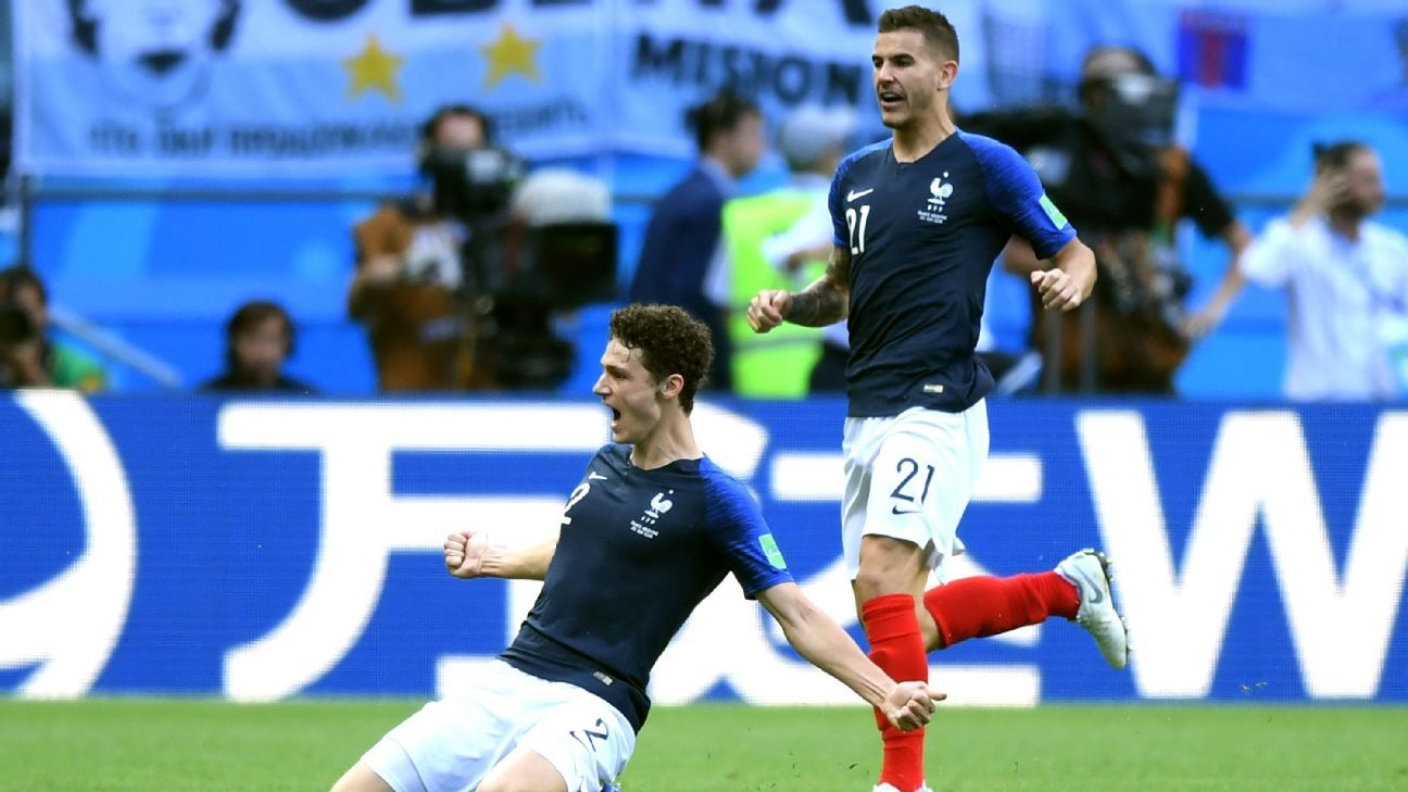 Benjamin Pavard and Lucas Hernandez celebrate during France's World Cup win over Argentina.
