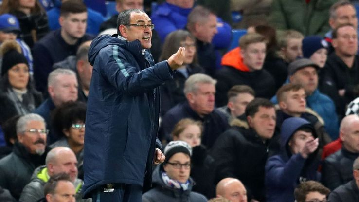 Chelsea manager Maurizio Sarri on the touchline during the home defeat to Leicester