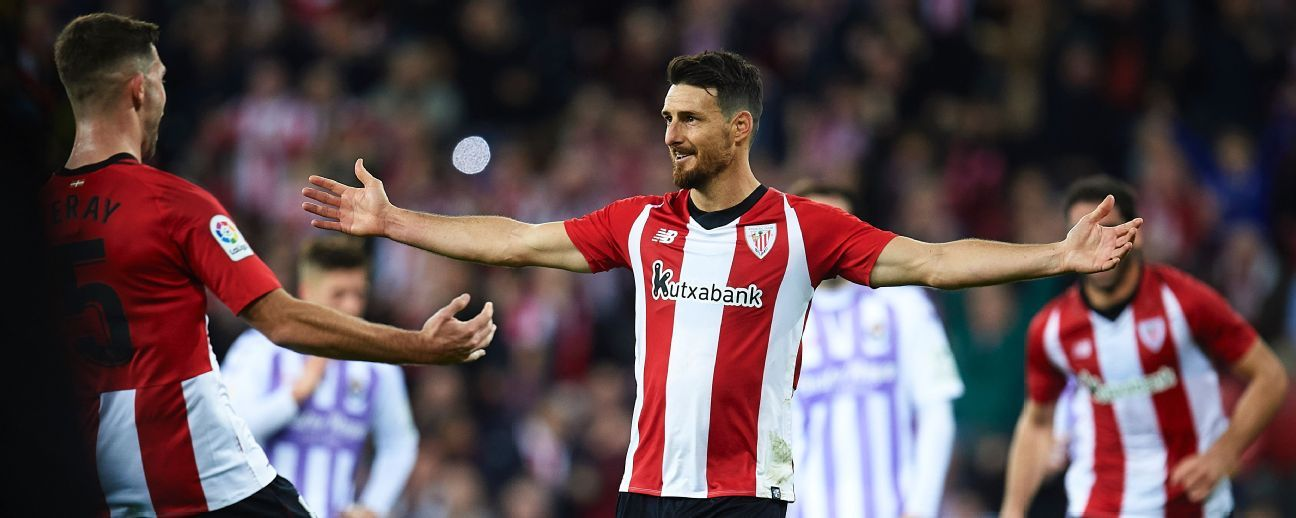 Aritz Aduriz of Athletic Club celebrates after scoring the opening goal