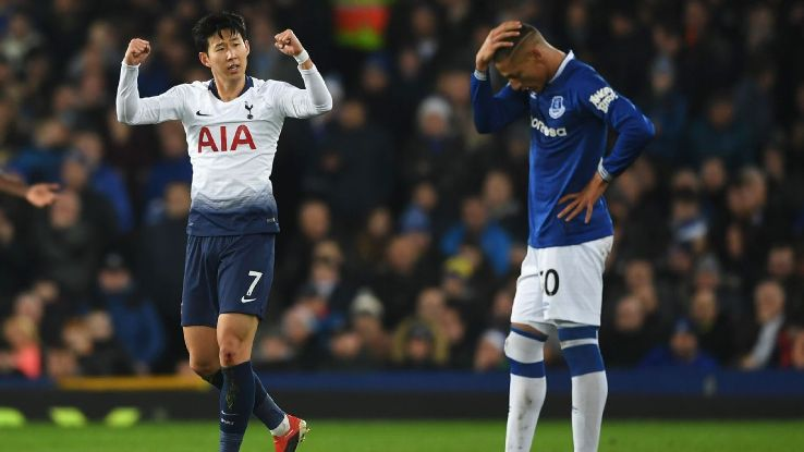 Son Heung-Min celebrates after scoring in Tottenham's Premier League match at Everton.