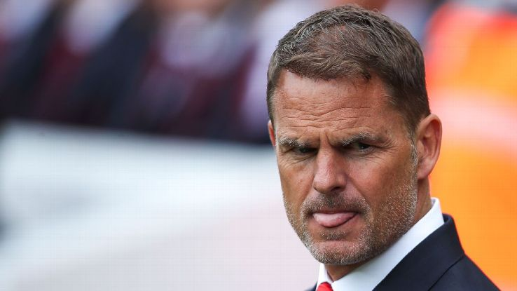 Frank de Boer looks on during Crystal Palace's Premier League match at Liverpool.