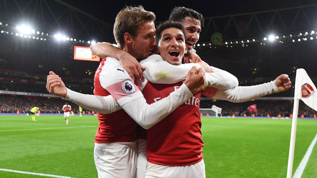Torreira, centre, has been an instant hit at the Emirates as the tough-tackling, no-nonsense anchor of Unai Emery's new-look Arsenal side.