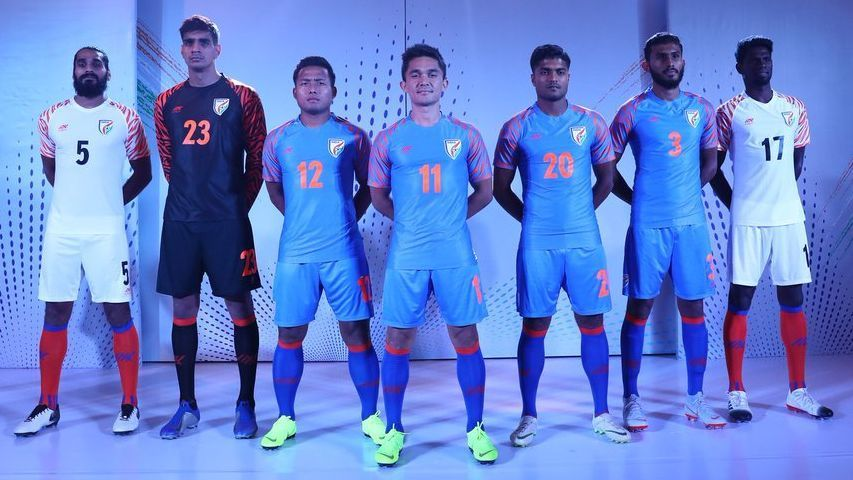 The Indian football team unveil their new kits ahead of the 2019 AFC Asian Cup.