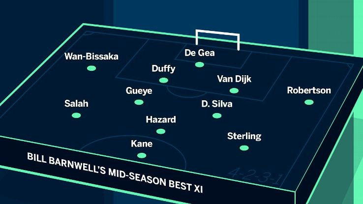 Liverpool get three players in our best XI so far thanks to their status as the league's only undefeated team at the midway point.