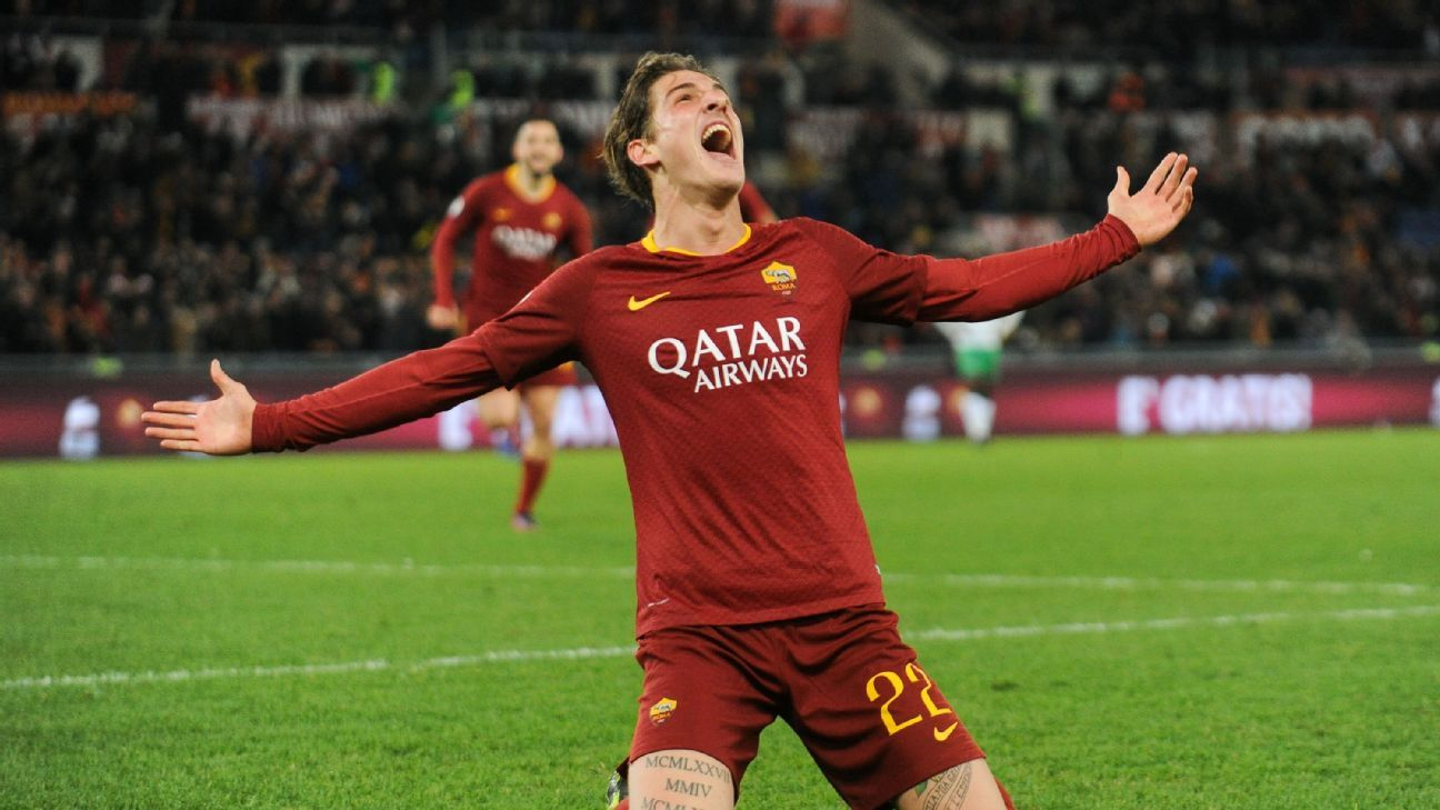 Nicolo Zaniolo celebrates after scoring in Roma's Serie A win over Sassuolo.