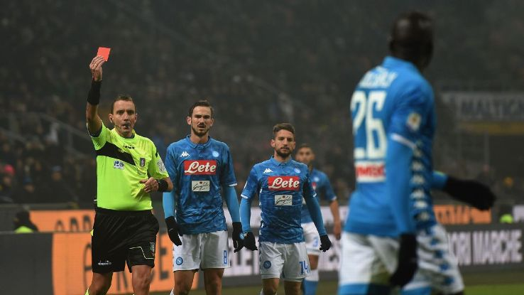 The sending-off of Koulibaly, foreground, was just the start of a grim evening at Inter vs. Napoli in Milan, a game that ended with the hosts getting a stadium ban and one fan dead following clashes outside the stadium.