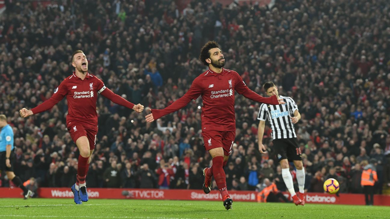 Mohamed Salah scored his 12th Premier League goal of the season from the penalty spot against Newcastle on Saturday.
