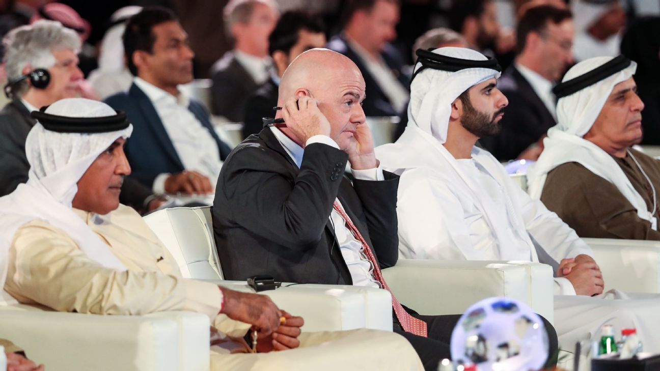 Fifa president Gianni Infantino at the Dubai International Sports Conference -- Jan. 1 2019.