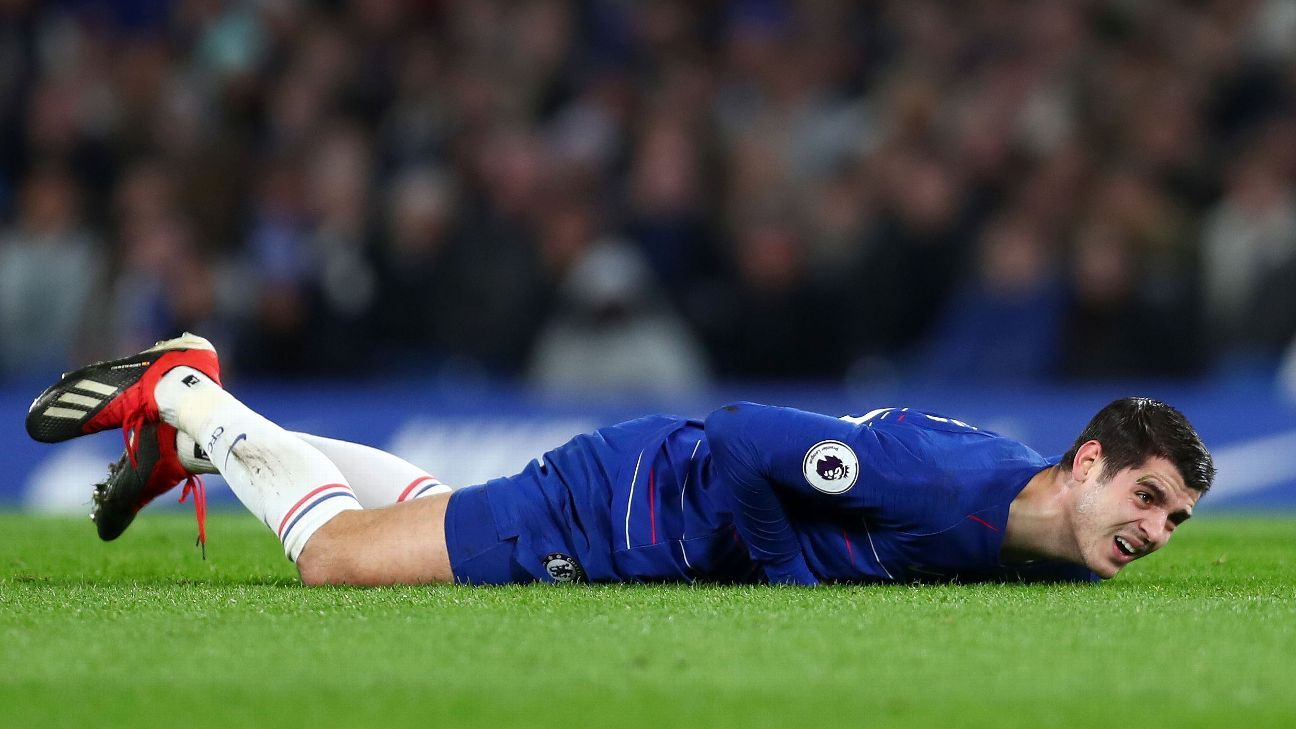 Alvaro Morata of Chelsea goes down during the Premier League match between Chelsea FC and Southampton