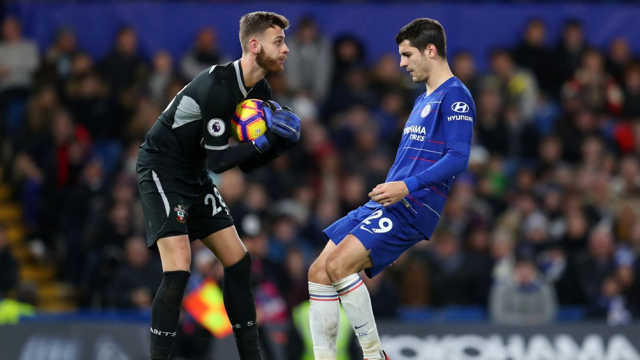 Angus Gunn and Alvaro Morata vie for the ball in Southampton's 0-0 Premier League draw at Chelsea.