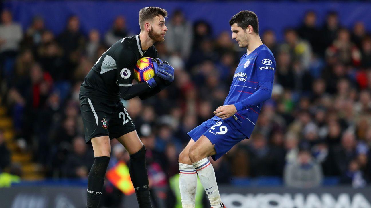 Angus Gunn and Alvaro Morata vie for the ball in Southampton's 0-0 Premier League draw at Chelsea.