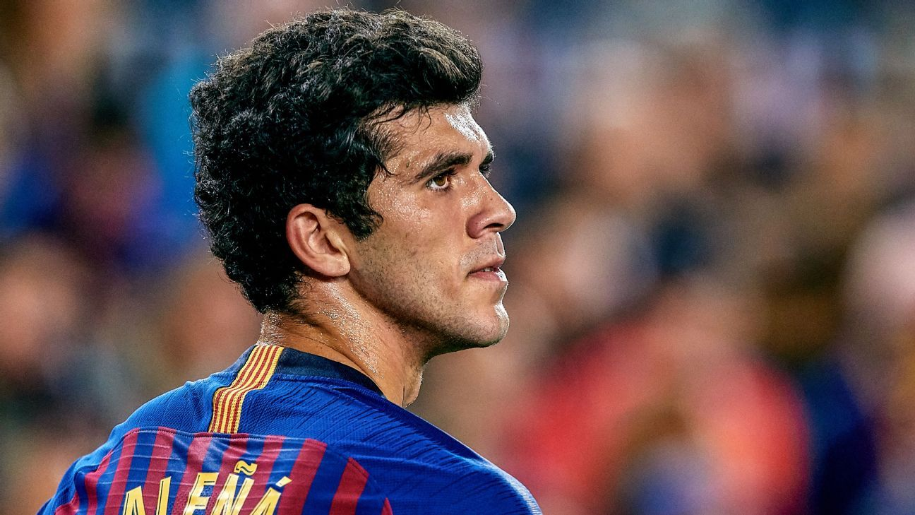 Carles Alena looks on during Barcelona's La Liga loss to Real Betis.