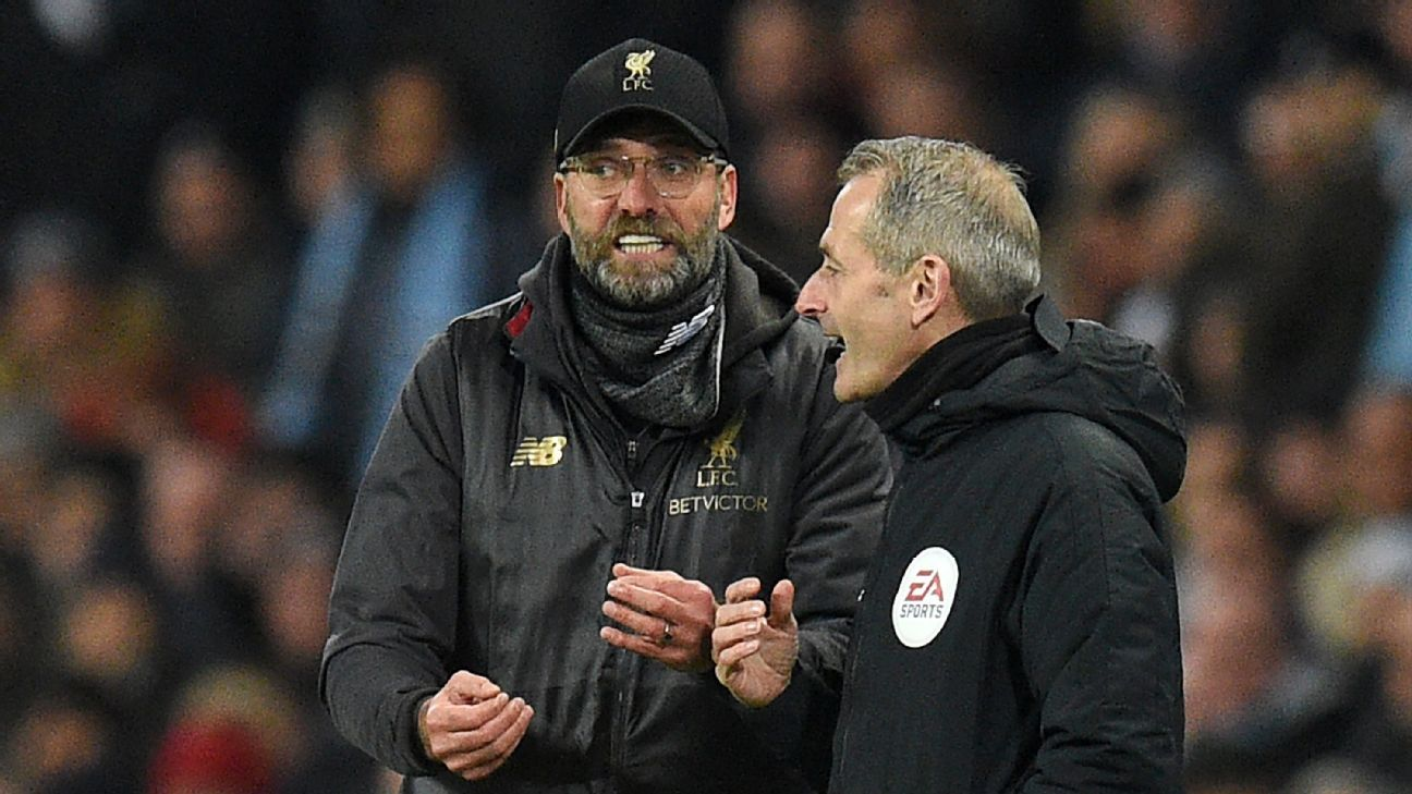 Liverpool manager Jurgen Klopp argues with the fourth official during their match against Manchester City.