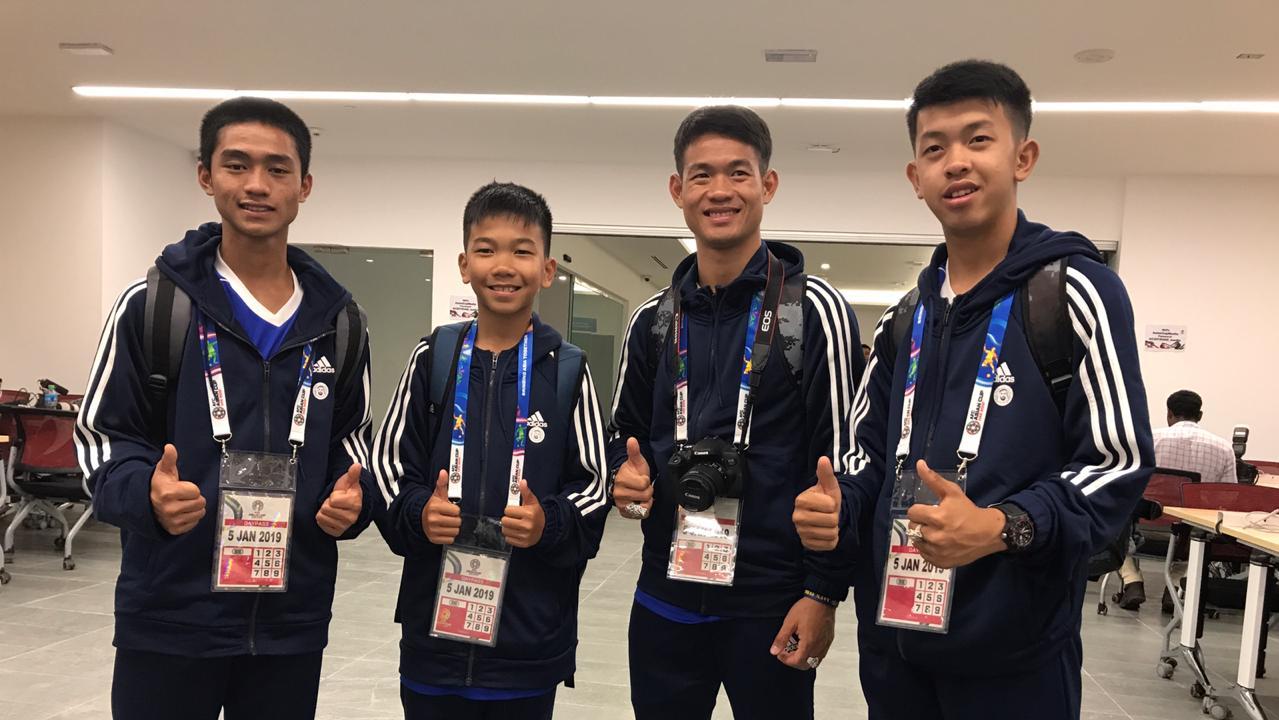 The Thai cave rescue boys (L-R): Adul, Titan, Ek (coach) and Tee