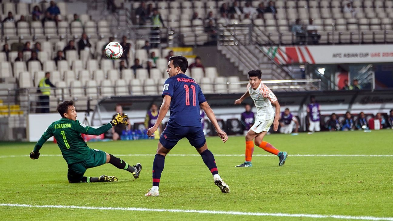Anirudh Thapa scores India's third goal with a delightful dink over the goalkeeper.