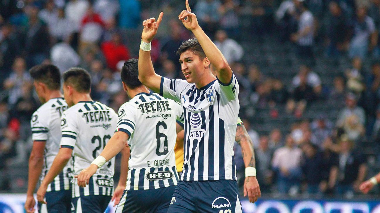 Luis Madrigal of Monterrey celebrates after scoring the fifth goal of his team