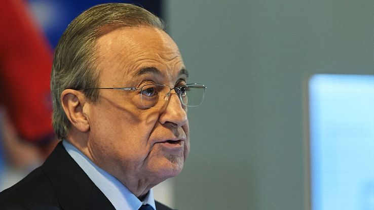 Florentino Perez speaks during the introduction of new Real Madrid signing Brahim Diaz.