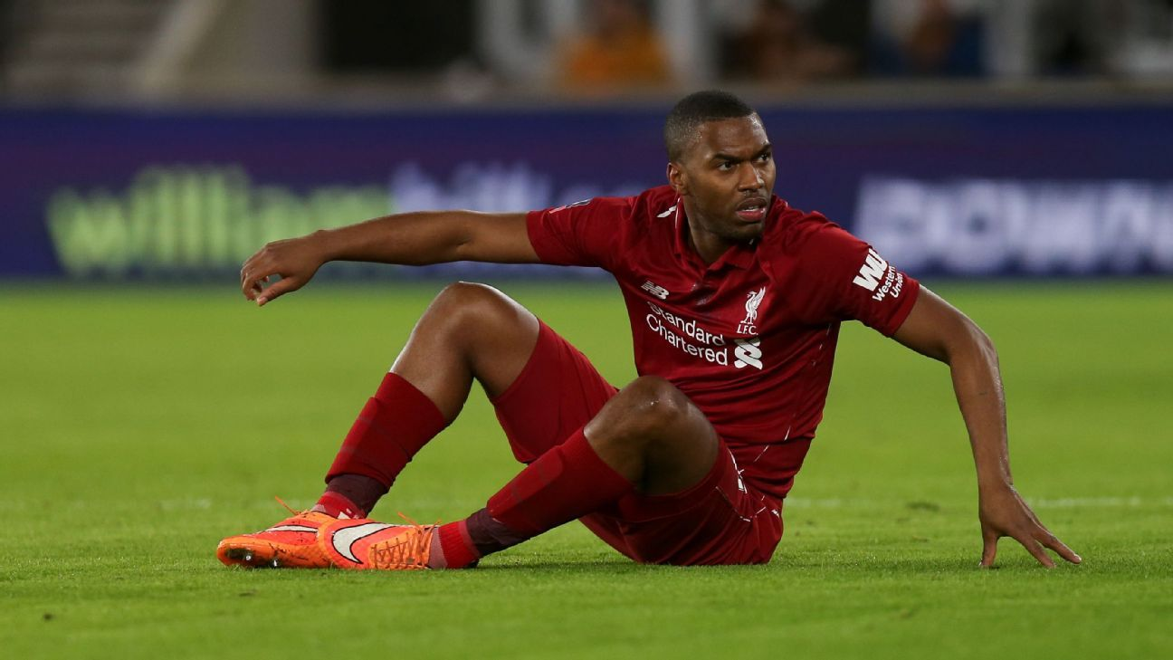 Daniel Sturridge looks on during Liverpool's FA Cup defeat at Wolves.