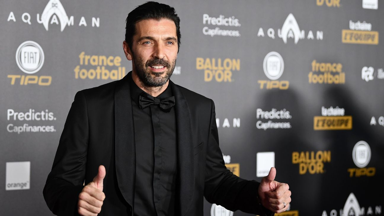 Paris Saint-Germain Gianluigi Buffon arrives for the Ballon d'Or gala on Dec. 3