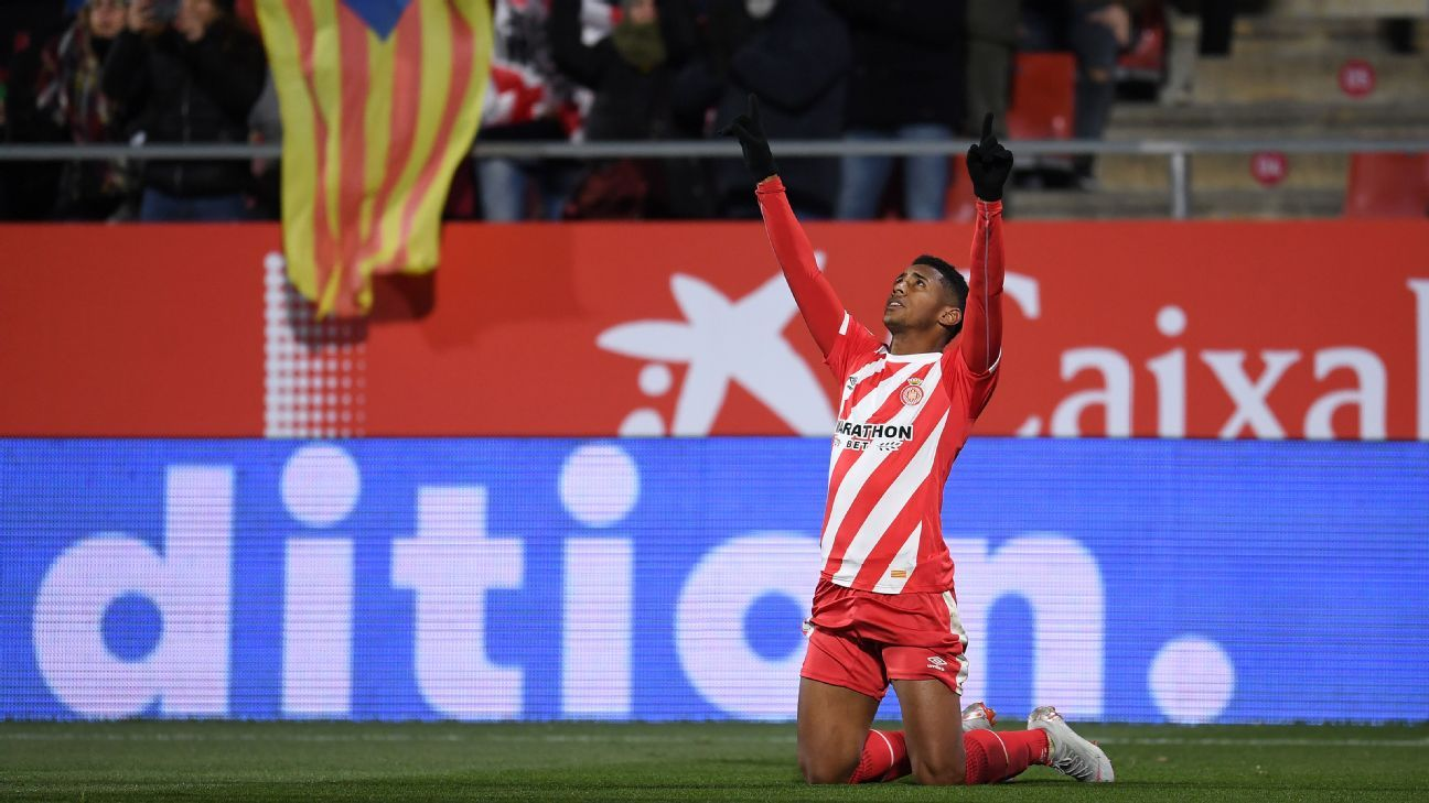 Anthony Lozano of Girona FC celebrates after scoring against Atletico Madrid in the Copa del Rey.