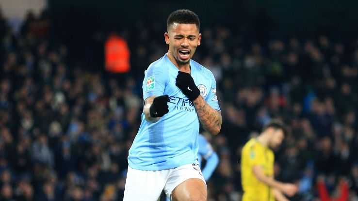 Gabriel Jesus' four-goal outburst against Burton was the latest in a series of strong recent performances from the Brazilian.