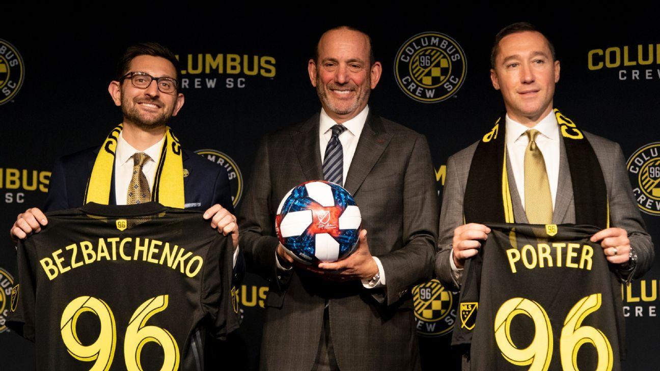 MLS commissioner Don Garber, center, with Columbus Crew head coach Caleb Porter, right, and president Tim Bezbatchenko.
