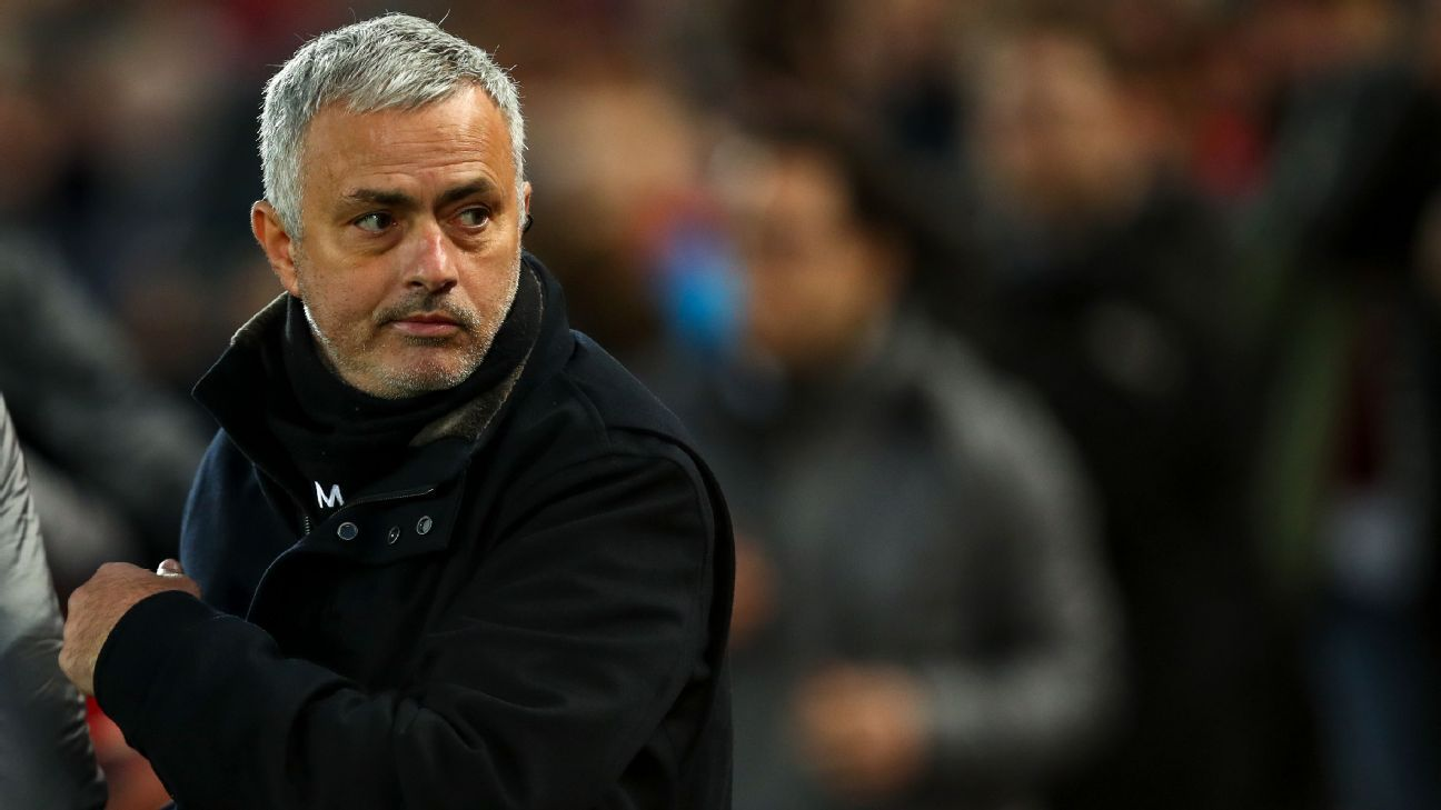 Jose Mourinho watches on during his final match as manager of Manchester United