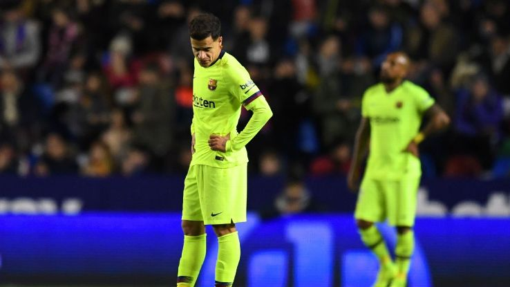 Philippe Coutinho of Barcelona reacts after a Levante goal during their Copa del Rey first-leg match.