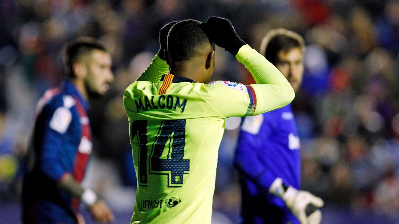 Malcom's struggles at Barcelona continued, as the Brazilian was a non-factor in Barca's Copa del Rey defeat to Levante.